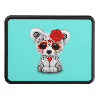 Red Day of the Dead Baby Polar Bear Trailer Hitch Cover