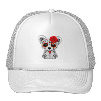 Red Day of the Dead Baby Polar Bear Trucker Hat