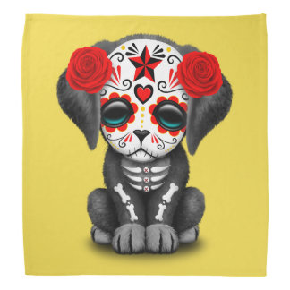 Red Day of the Dead Baby Puppy Dog Bandana