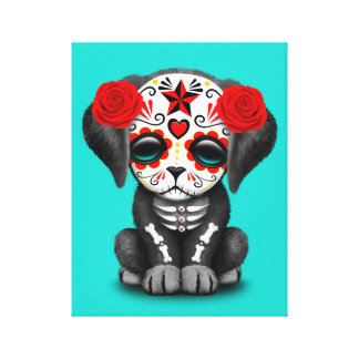 Red Day of the Dead Baby Puppy Dog Canvas Print