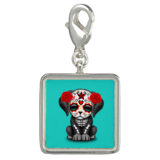 Red Day of the Dead Baby Puppy Dog Photo Charm