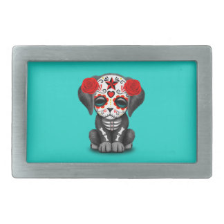 Red Day of the Dead Baby Puppy Dog Rectangular Belt Buckle