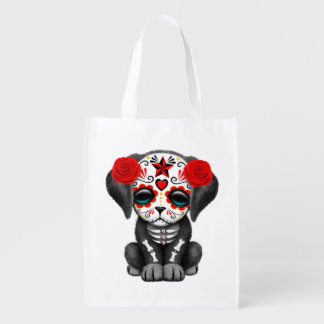 Red Day of the Dead Baby Puppy Dog Reusable Grocery Bag