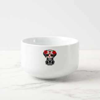 Red Day of the Dead Baby Puppy Dog Soup Bowl With Handle