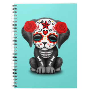 Red Day of the Dead Baby Puppy Dog Spiral Notebook