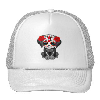 Red Day of the Dead Baby Puppy Dog Trucker Hat