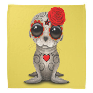 Red Day of the Dead Baby Sea Lion Bandana