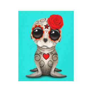 Red Day of the Dead Baby Sea Lion Canvas Print
