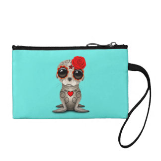 Red Day of the Dead Baby Sea Lion Coin Purse