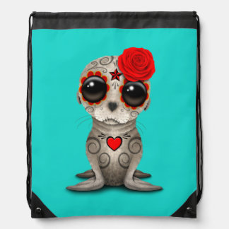 Red Day of the Dead Baby Sea Lion Drawstring Bag