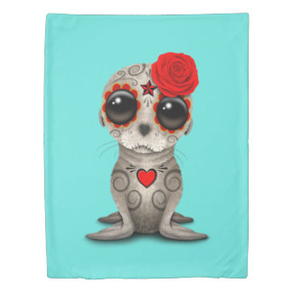 Red Day of the Dead Baby Sea Lion Duvet Cover