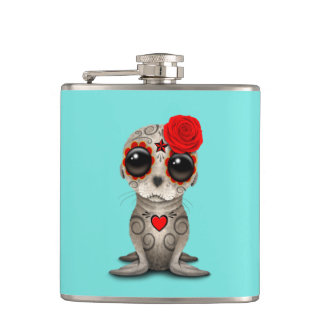 Red Day of the Dead Baby Sea Lion Hip Flask