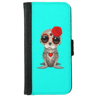 Red Day of the Dead Baby Sea Lion iPhone 6 Wallet Case