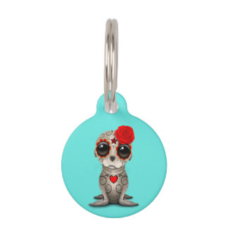 Red Day of the Dead Baby Sea Lion Pet ID Tag