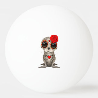 Red Day of the Dead Baby Sea Lion Ping Pong Ball
