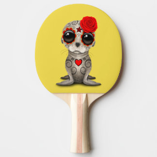Red Day of the Dead Baby Sea Lion Ping Pong Paddle