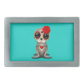 Red Day of the Dead Baby Sea Lion Rectangular Belt Buckle