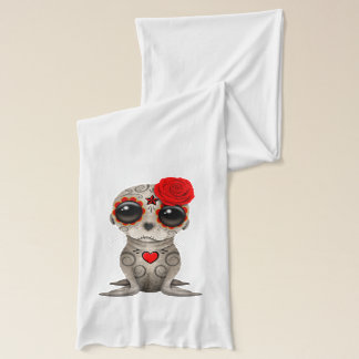 Red Day of the Dead Baby Sea Lion Scarf