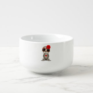 Red Day of the Dead Baby Sea Lion Soup Bowl With Handle