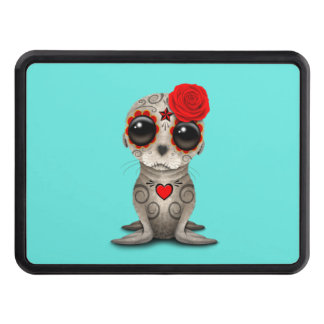 Red Day of the Dead Baby Sea Lion Trailer Hitch Covers