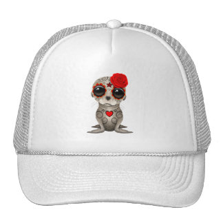 Red Day of the Dead Baby Sea Lion Trucker Hat