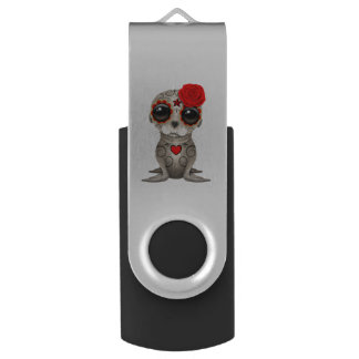 Red Day of the Dead Baby Sea Lion USB Flash Drive