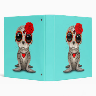 Red Day of the Dead Baby Sea Lion Vinyl Binder