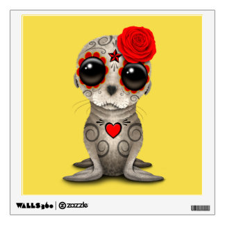 Red Day of the Dead Baby Sea Lion Wall Decal