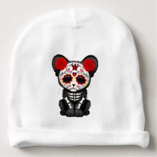 Red Day of the Dead Black Panther Cub Baby Beanie