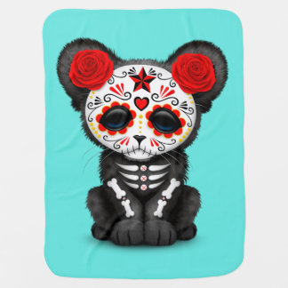 Red Day of the Dead Black Panther Cub Baby Blanket