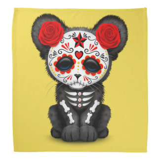 Red Day of the Dead Black Panther Cub Bandana
