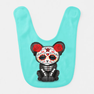 Red Day of the Dead Black Panther Cub Bib