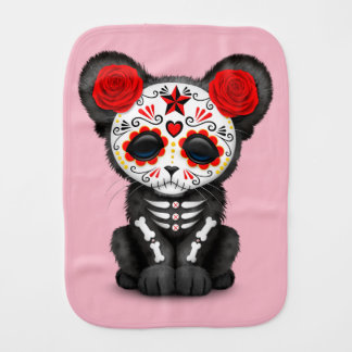 Red Day of the Dead Black Panther Cub Burp Cloth