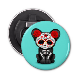 Red Day of the Dead Black Panther Cub Button Bottle Opener