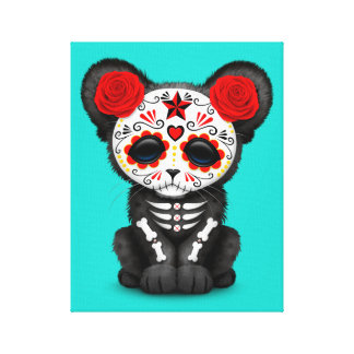 Red Day of the Dead Black Panther Cub Canvas Print