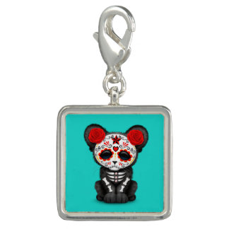 Red Day of the Dead Black Panther Cub Charm