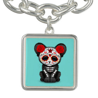 Red Day of the Dead Black Panther Cub Charm Bracelet