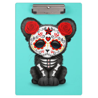 Red Day of the Dead Black Panther Cub Clipboard