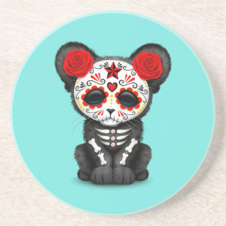 Red Day of the Dead Black Panther Cub Coaster