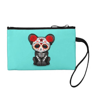 Red Day of the Dead Black Panther Cub Coin Purse