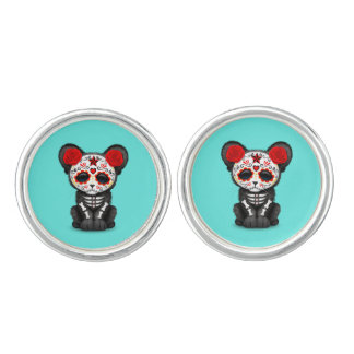 Red Day of the Dead Black Panther Cub Cufflinks