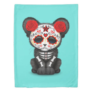 Red Day of the Dead Black Panther Cub Duvet Cover