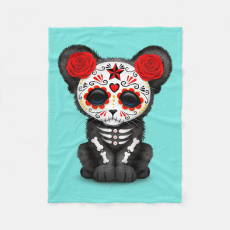 Red Day of the Dead Black Panther Cub Fleece Blanket