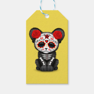 Red Day of the Dead Black Panther Cub Gift Tags