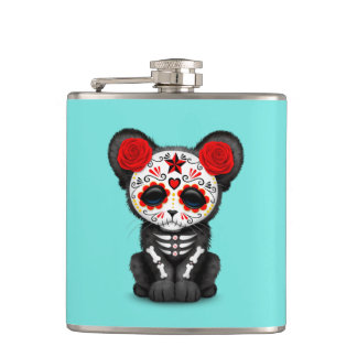 Red Day of the Dead Black Panther Cub Hip Flask