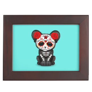 Red Day of the Dead Black Panther Cub Keepsake Box