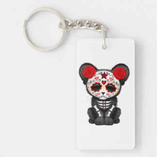 Red Day of the Dead Black Panther Cub Keychain
