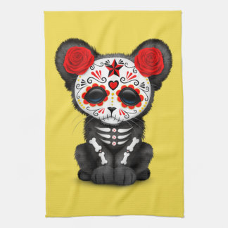 Red Day of the Dead Black Panther Cub Kitchen Towel