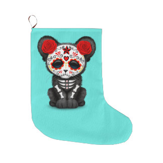Red Day of the Dead Black Panther Cub Large Christmas Stocking