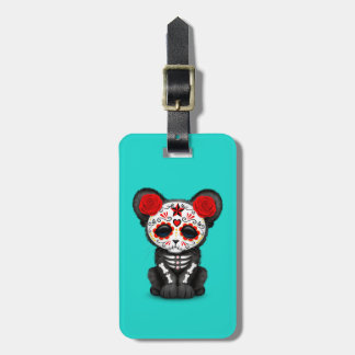 Red Day of the Dead Black Panther Cub Luggage Tag